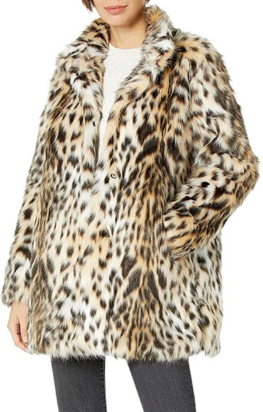 Leopard Faux Fur Coats Jackets for Women
