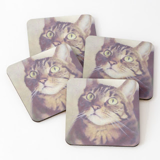 cat-themed coaster set of 4