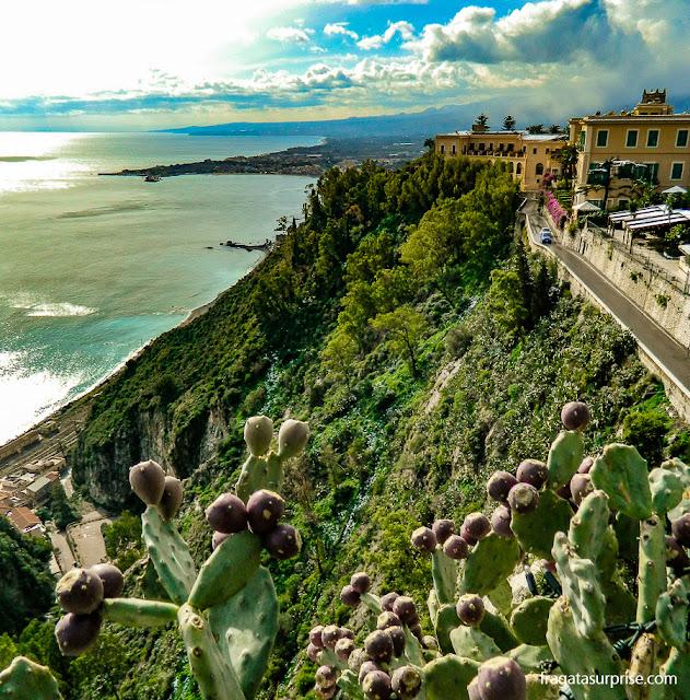 Taormina, Sicília, Mirante na Praça do Relógio