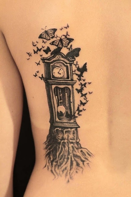 Awesome Clock Tattoo For Girls On Back