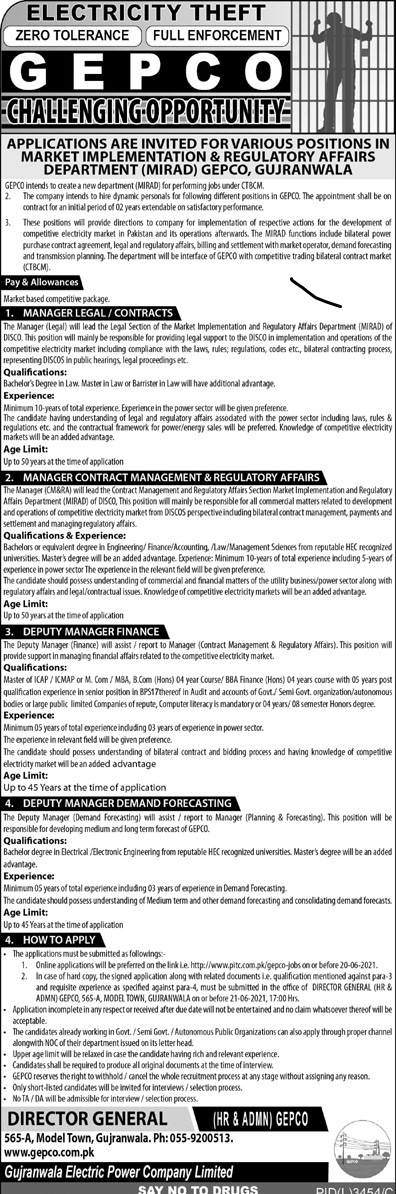 New Jobs in Gujranwala Electric Power Company (GEPCO) June 2021