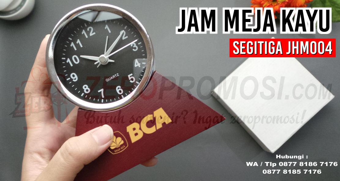 Souvenir Jam Meja Kayu Segitiga JHM004, Jam Kayu Promosi , jam kayu klasik, souvenir unik, jam meja promosi