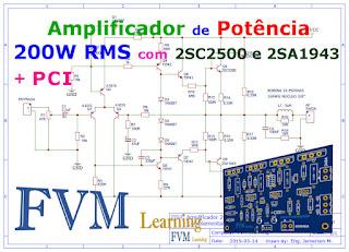 Amplificador de Potência 200W RMS com 2SC2500 e 2SA1943 + PCI