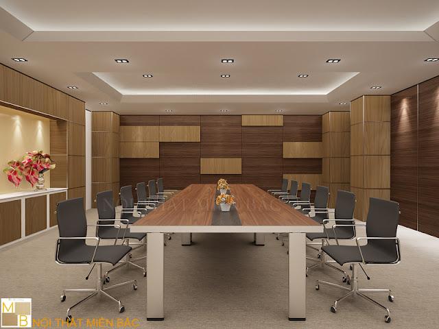 Thiết kế nội thất phòng họp ưu tiên sử dụng các mẫu bàn làm việc có chất liệu từ gỗ tự nhiên hoặc gỗ công nghiệp cao cấp