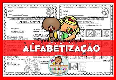 Atividades de alfabetização, Atividades de leitura, Atividades para 1º ano, Atividades para 2º ano, ordem alfabética, animais, Textos,