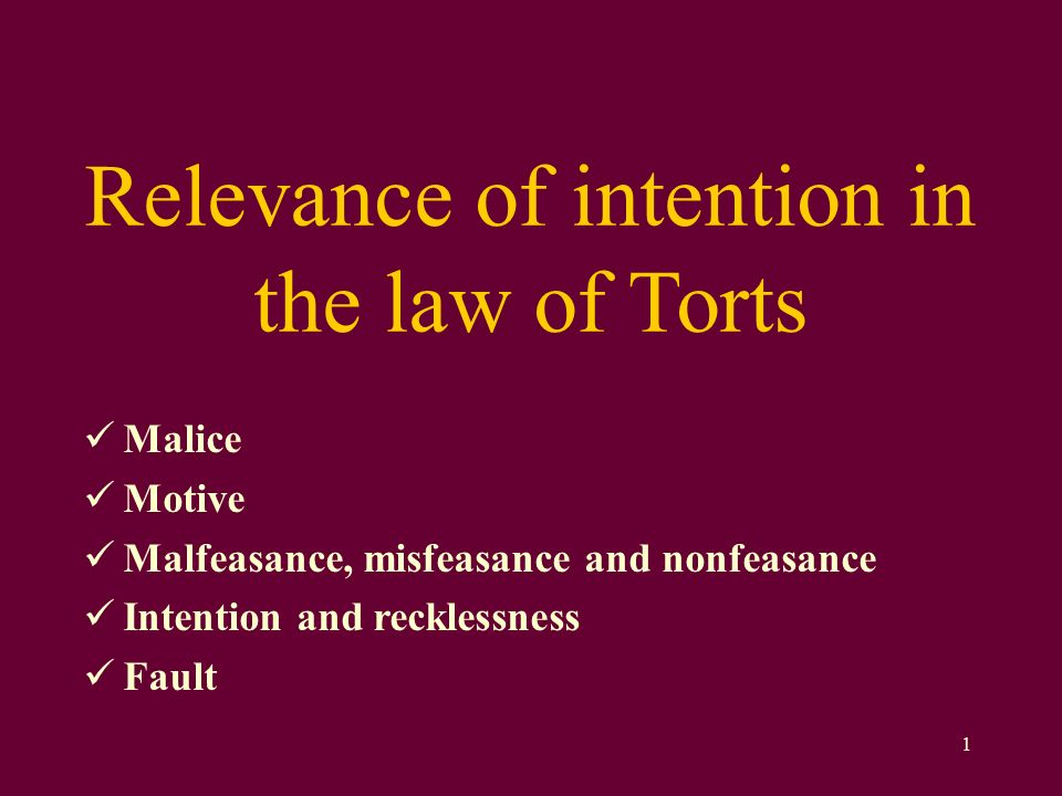 torts intention motive