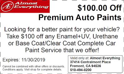 Discount Coupon $100 Off Premium Auto Paint Sale November 2019