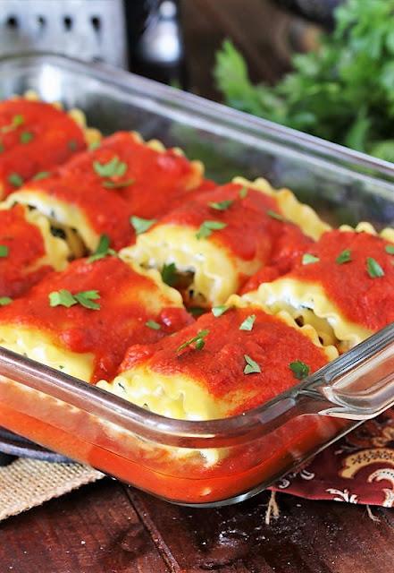 Lasagna Roll-Ups in Baking Dish Image