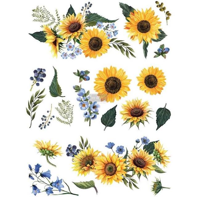 Photo of a decor transfer sheet of sunflower designs.