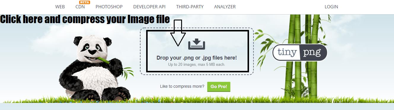Compress image file- Tiny PNG