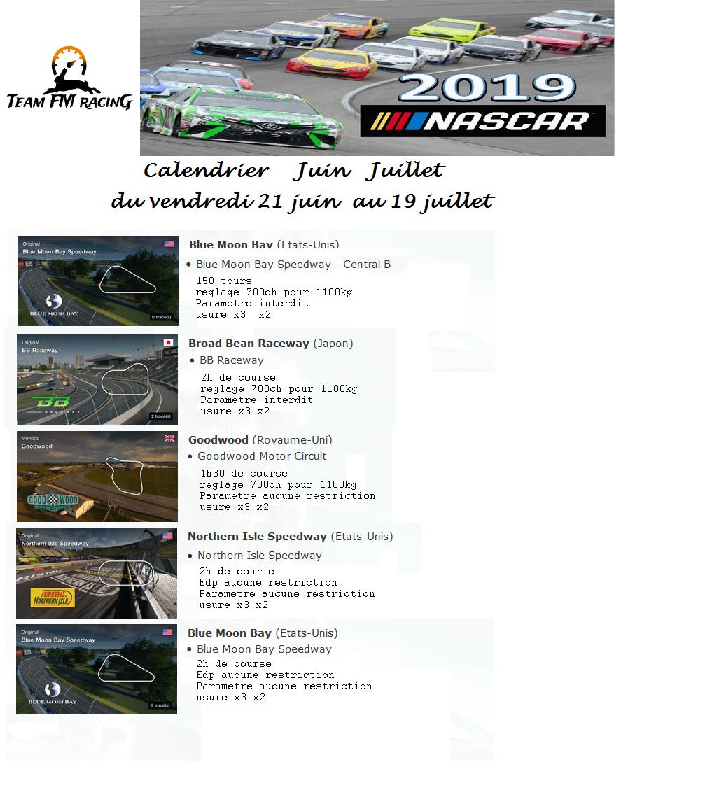 Calendrier Nascar.Team Fm Racing E Sport Juin 2019