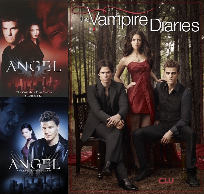 Promo images from 'Angel' with David Boreanaz and Charisma Carpenter and 'The Vampire Diaries' with Ian Somerhalder, Nina Dobrev, and Paul Wesley