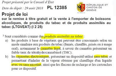 Genève le PL 12385 assimile la vape au tabac