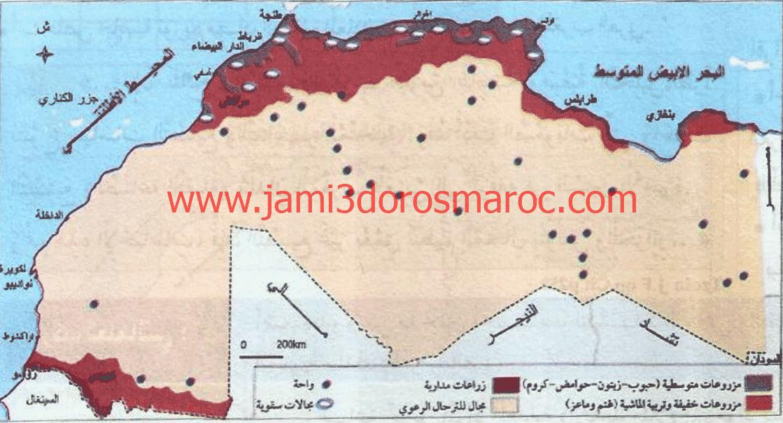 خريطة المجال الفلاحي بالمغرب العربي
