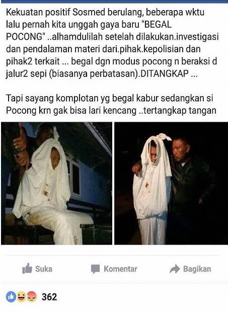 Polisi Berhasil Menangkap Pelaku Begal Bermodus Pocong, Begini Nasibnya