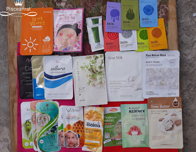Dr. Young Jeju Citrus, YET Don't Worry Heart Beating (Nutrition), Naruko Tea Tree Purifying Clay, Bevins in Nutrition, Energy, Pore, Whitening, Hydro, Soothing, Honey, Novelina Clarity, Coenzyme, allura, goodal Revitalizing, Skinature Goat Milk, secriss Pure Nature Mask White Pearl, Vedette in sheets, clay and peel-off, Balea Milk and Honey, Schaebens Plankton, Yadah Brightening, The Face Shop Shea Butter.