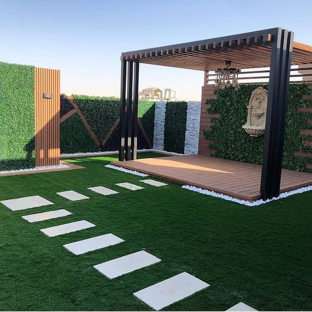 شركة تصميم حدائق جلسات سطح المنزل بعجمان