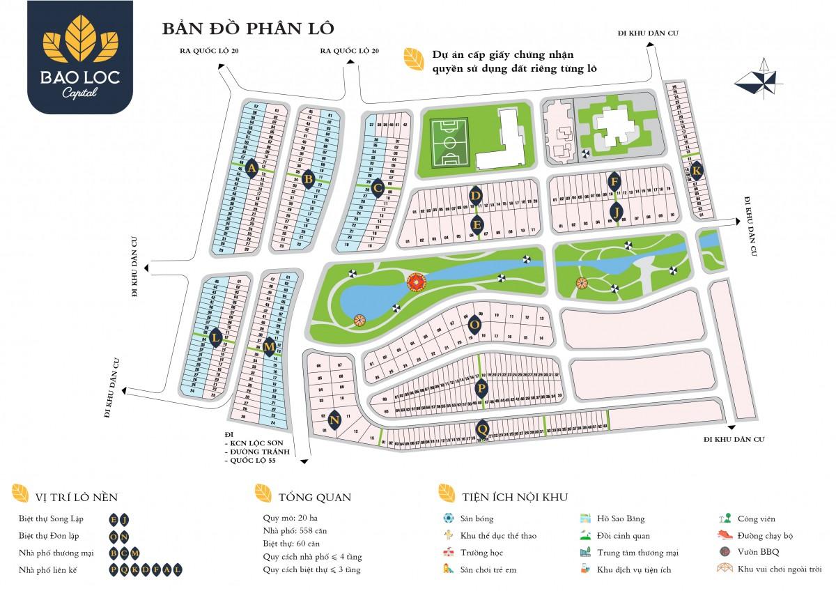 Bản đồ phân lô mặt bằng dự án Bảo Lộc capital