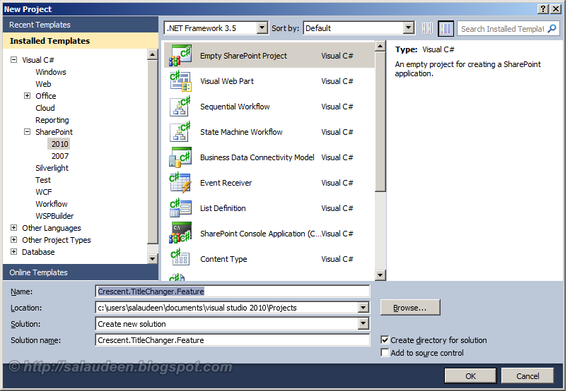how to create a feature in sharepoint 2010