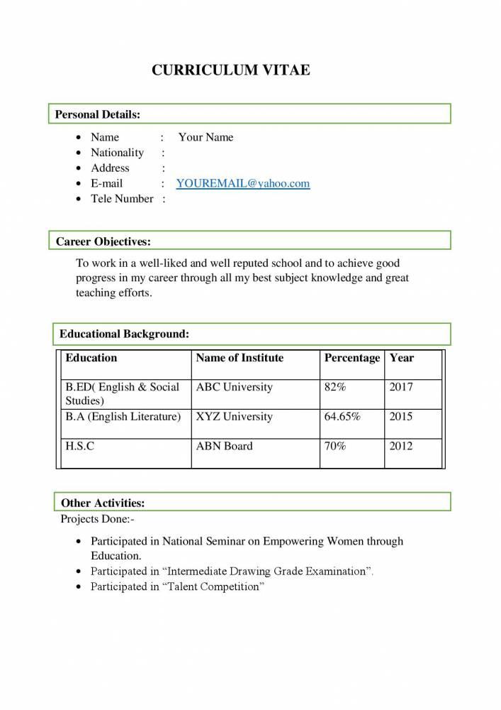 English Social Teacher Sample Resume Template Download Resume