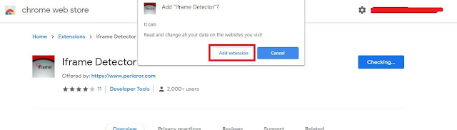 """Iframe detector - click on """"Add extension"""""""