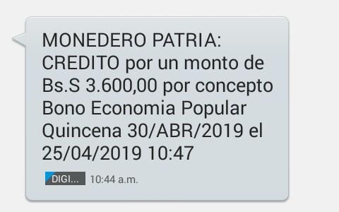 Pago Bono Economía Popular Quincena 30/ABR/2019