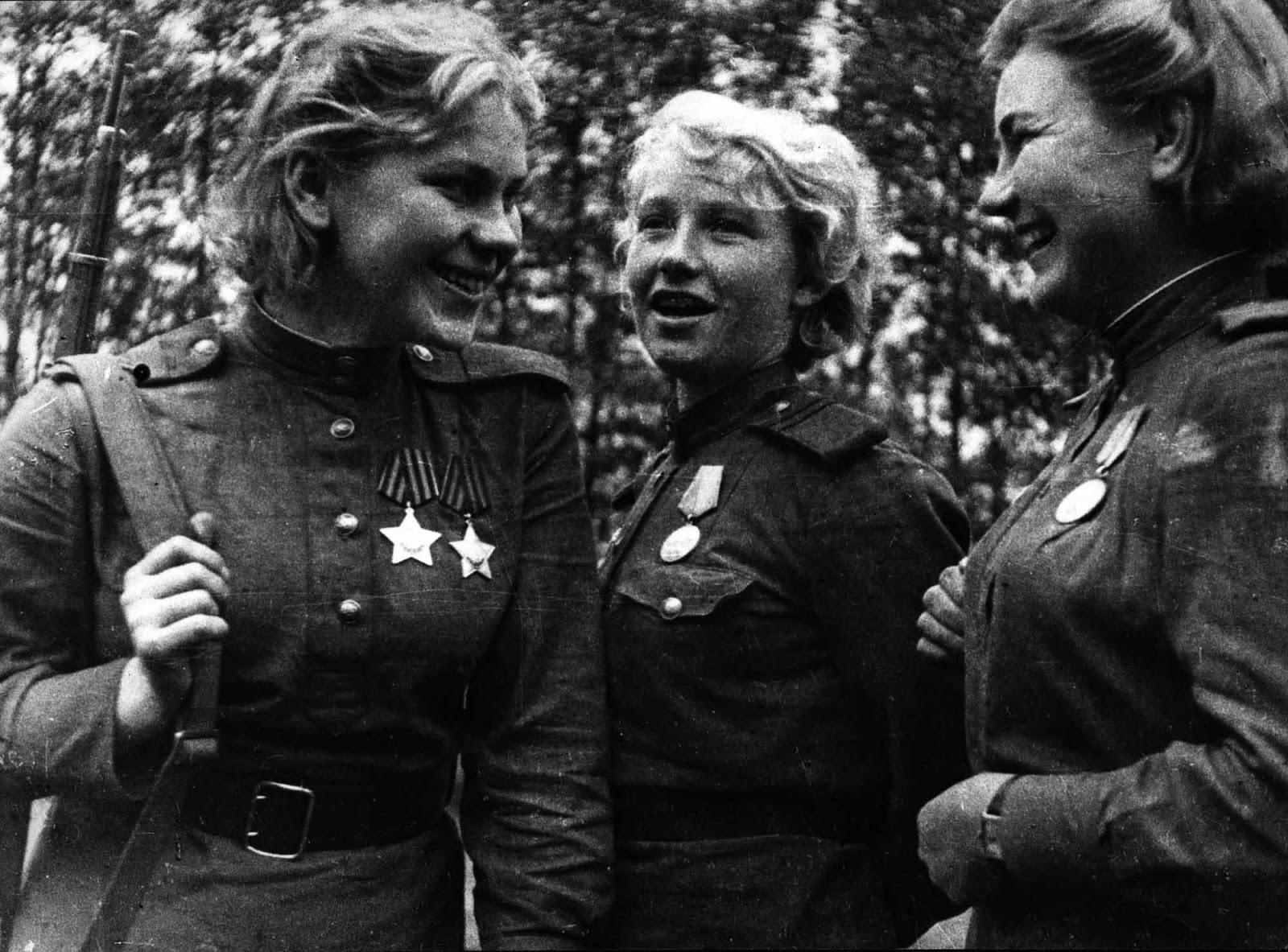 Roza Shanina, Lydia G. Vdovin and Alexndra Maksimovna Ekimova.