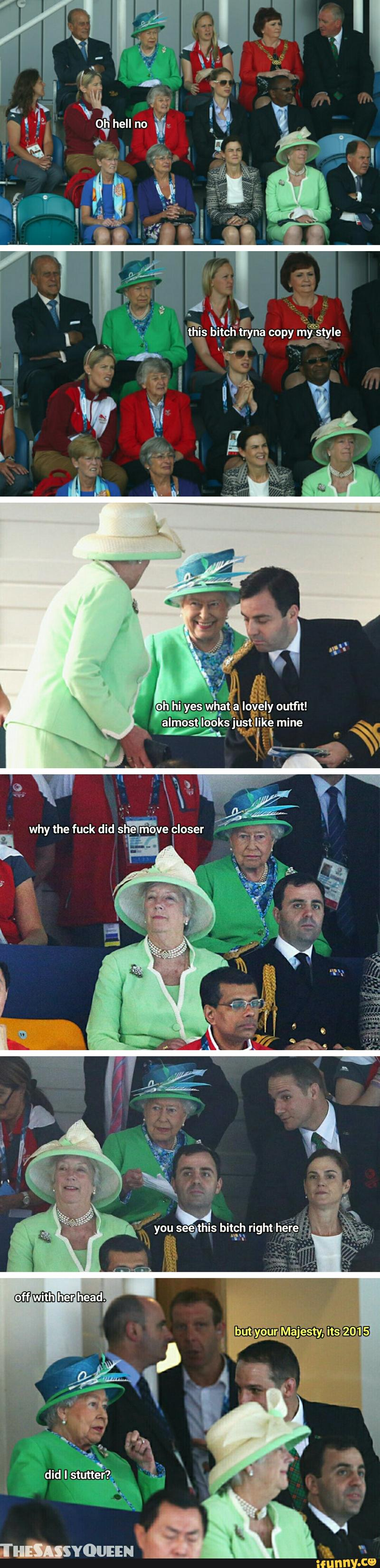 Funny Queen Elizabeth Off With Her Head! Meme Strip