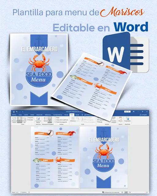 Plantilla editable en Word de menú para un restaurante de mariscos