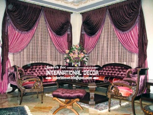Stylish Pink And Black Curtains For Luxury Living Room