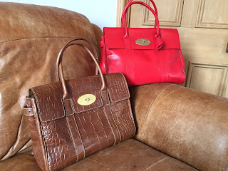 Mulberry Bayswater in red glossy goat and oak printed nvt