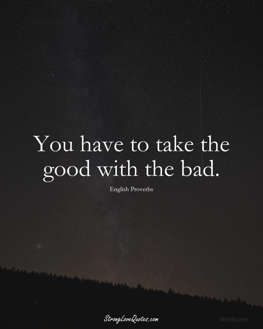 You have to take the good with the bad. (English Sayings);  #EuropeanSayings