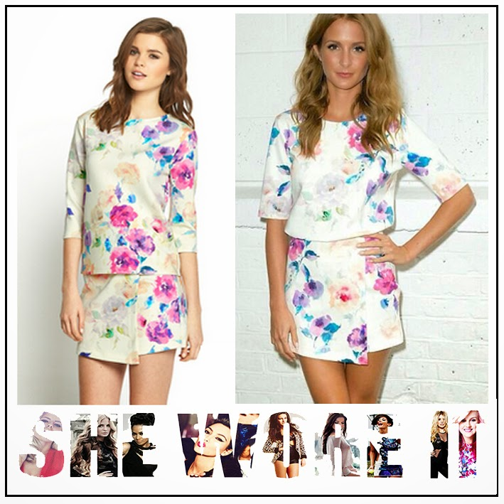 All Over Floral Print, Blue, Candy Pink, Co-ord Set, Exposed Zip, Love Label, Millie Mackintosh, Purple, round neckline, Skort, Three-quarter sleeves, Top, Very.co.uk,