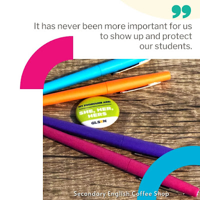 Image of brightly colored flair pens and a pronouns pin.
