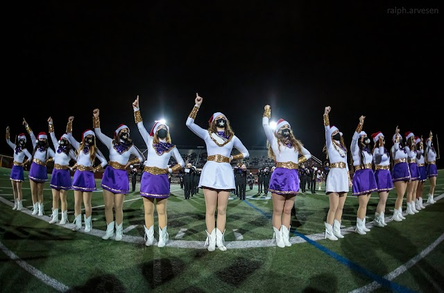 Marble Falls Band and Starlettes performing at the football game between the Marble Falls Mustangs and Pioneer Diamondbacks at the Area Playoffs at Heroes Stadium in San Antonio, Texas