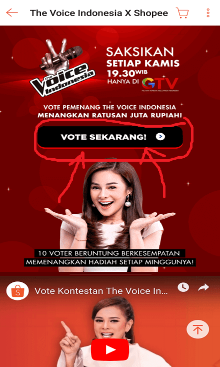 Halaman Voting The Voice Indonesia di Shopee.