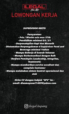 Lowongan Kerja Supervisor Resto di Nasi Kulit Ilegal Kupang