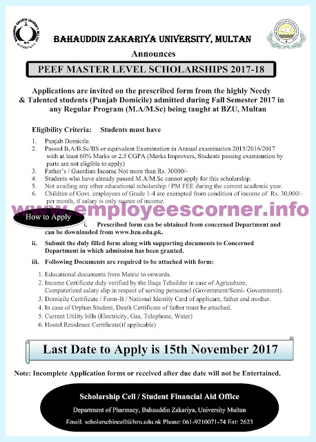 PEEF Masters Scholarships 2017 for BZU Students