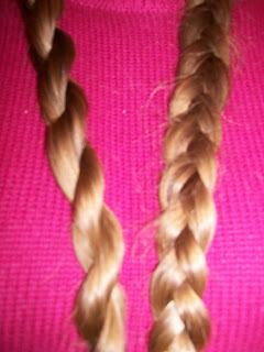 "Hair ""rope"" compared with a 3-strand braid."