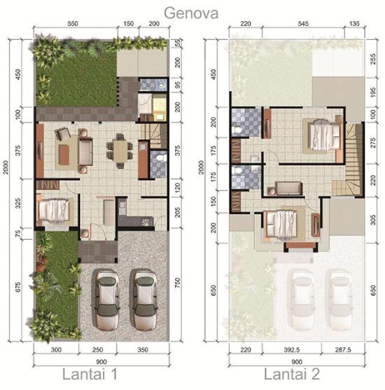 Denah rumah minimalis ukuran 9x20 meter 4 kamar tidur 2 lantai