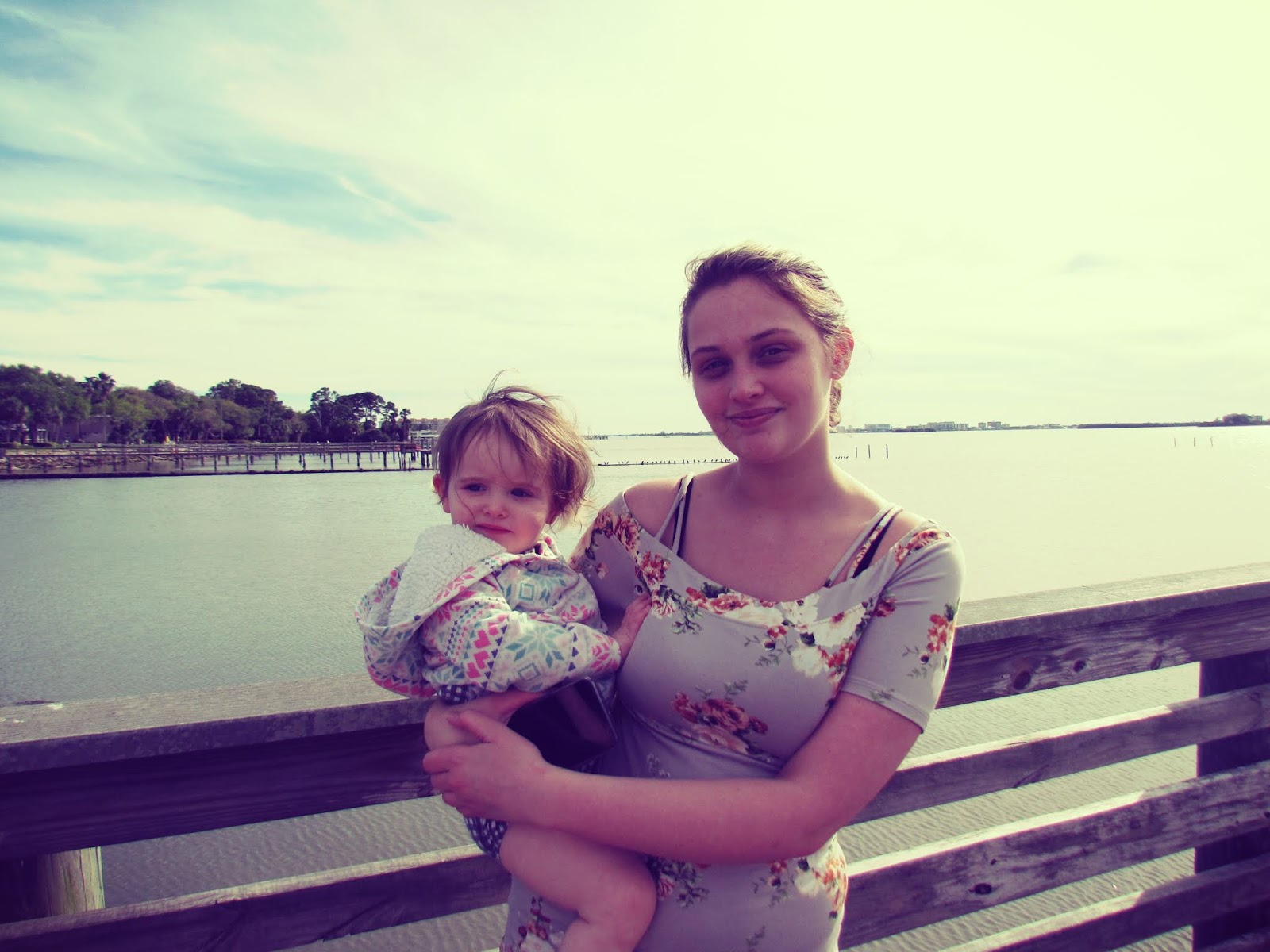 A mother and daughter snapshot with Veronica and Baby Lily at the pier in Florida