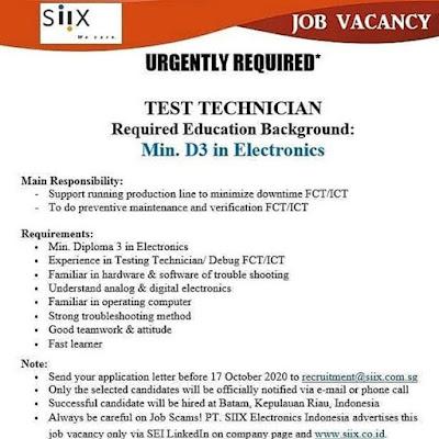 Kerjabatam.com PENGUMUMAN RESMI LOKER PT. SIIX Electronics Indonesia