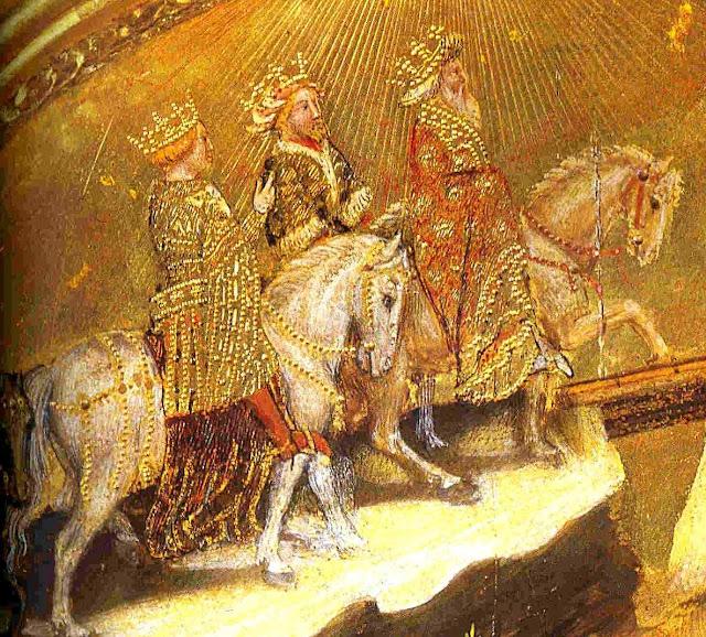Os Reis Magos avançam guiados pela estrela de Belém