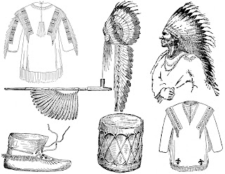 native american clipart headdress drum moccasins drawings images