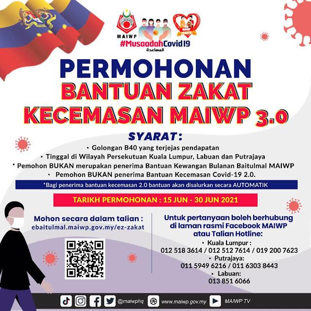 Permohonan Bantuan Zakat Kecemasan MAIWP 3.0 Kini Dibuka