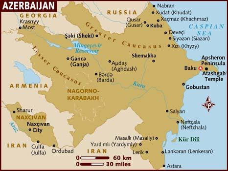 Mapa De La Geografia Regional De Ciudades De Europa Azerbaiyan