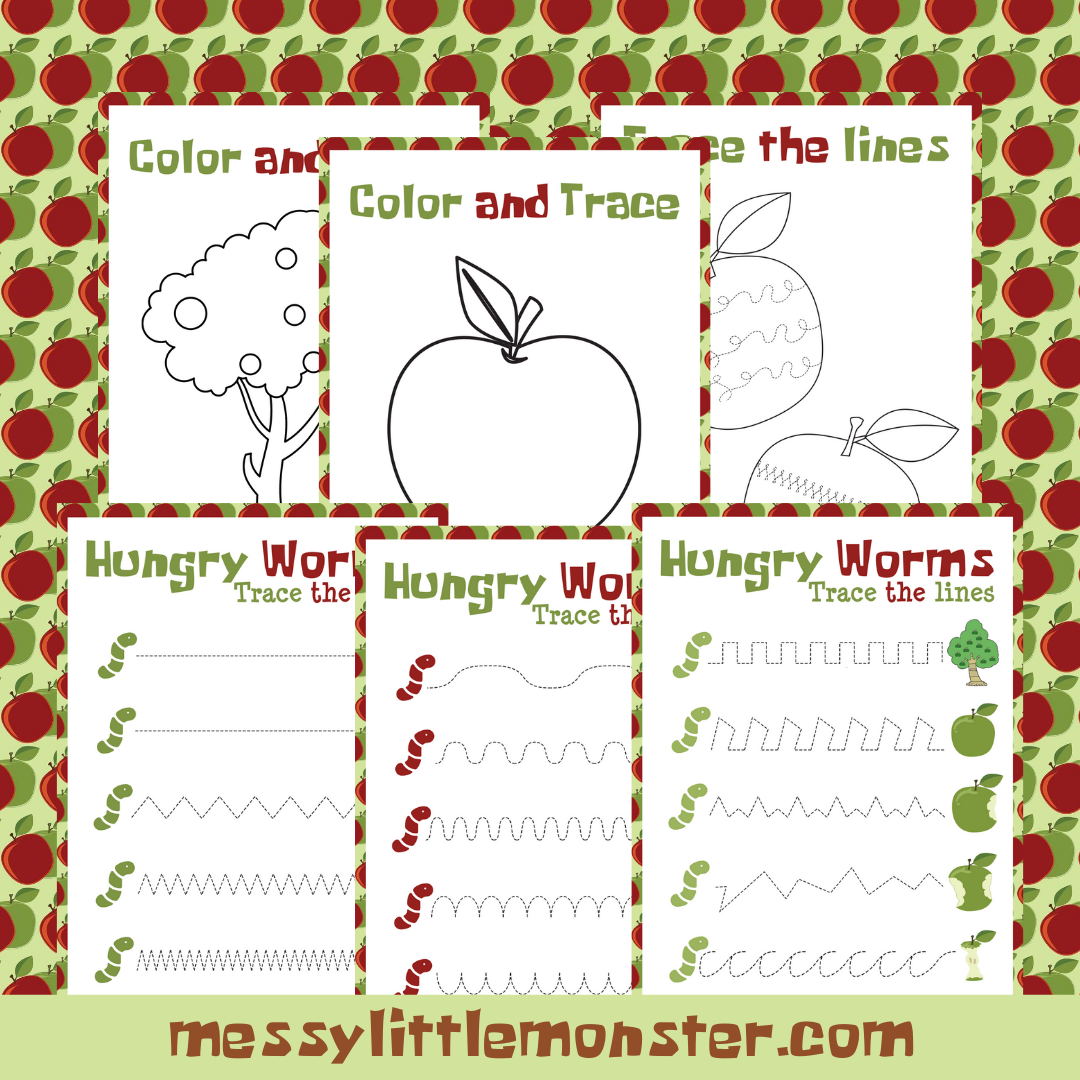 colour and trace apple activities for preschoolers