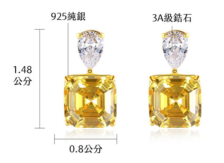 典雅富貴雙色方形鋯石 925純銀耳環