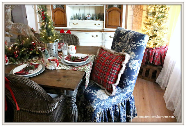 French Country Farmhouse Christmas Dining Room-Christmas Red Plaid Pillow-Blue Floral Parson Chair-From My Front Porch To Yours