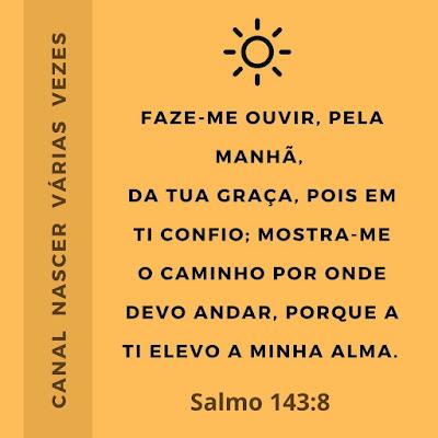 Faze-me ouvir, pela manhã, da tua graça, pois em ti confio; mostra-me o caminho por onde devo andar, porque a ti elevo a minha alma. Salmo 143:8 Canal Nascer Várias Vezes